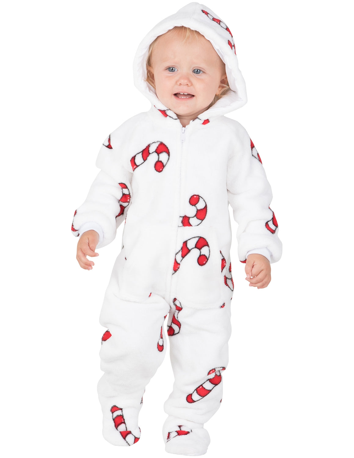 Candy Cane Lane Infant Hoodie Chenille Onesie