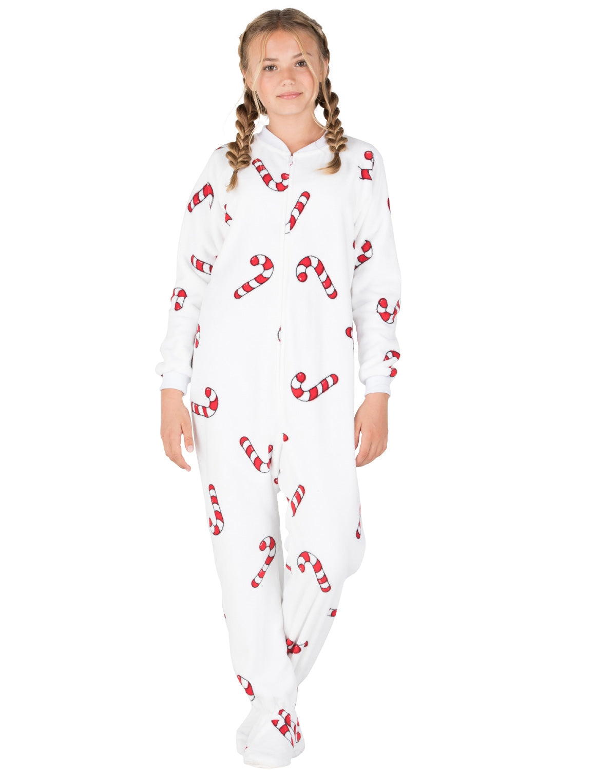 Footed Pajamas Candy Cane Lane Kids Chenille Onesie