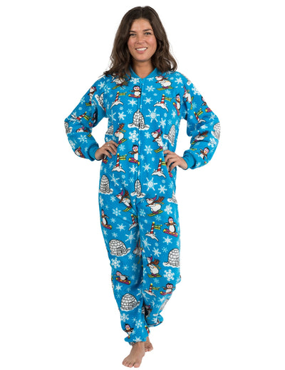 Winter Wonderland Adult Footless Fleece
