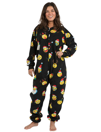 Merry Emoji Xmas Adult Footless Fleece