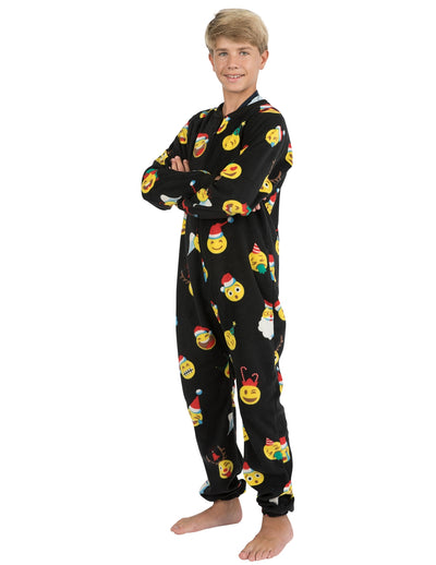Merry Emoji Xmas Kids Footless Fleece