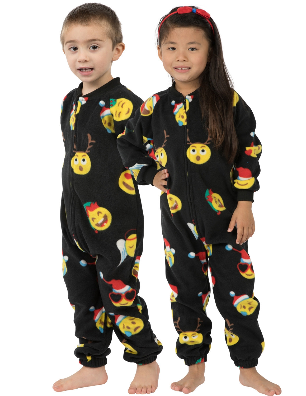 Merry Emoji Xmas Toddler Footless Fleece