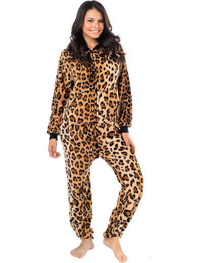 Cheetah Spots Adult Hoodie Footless Chenille