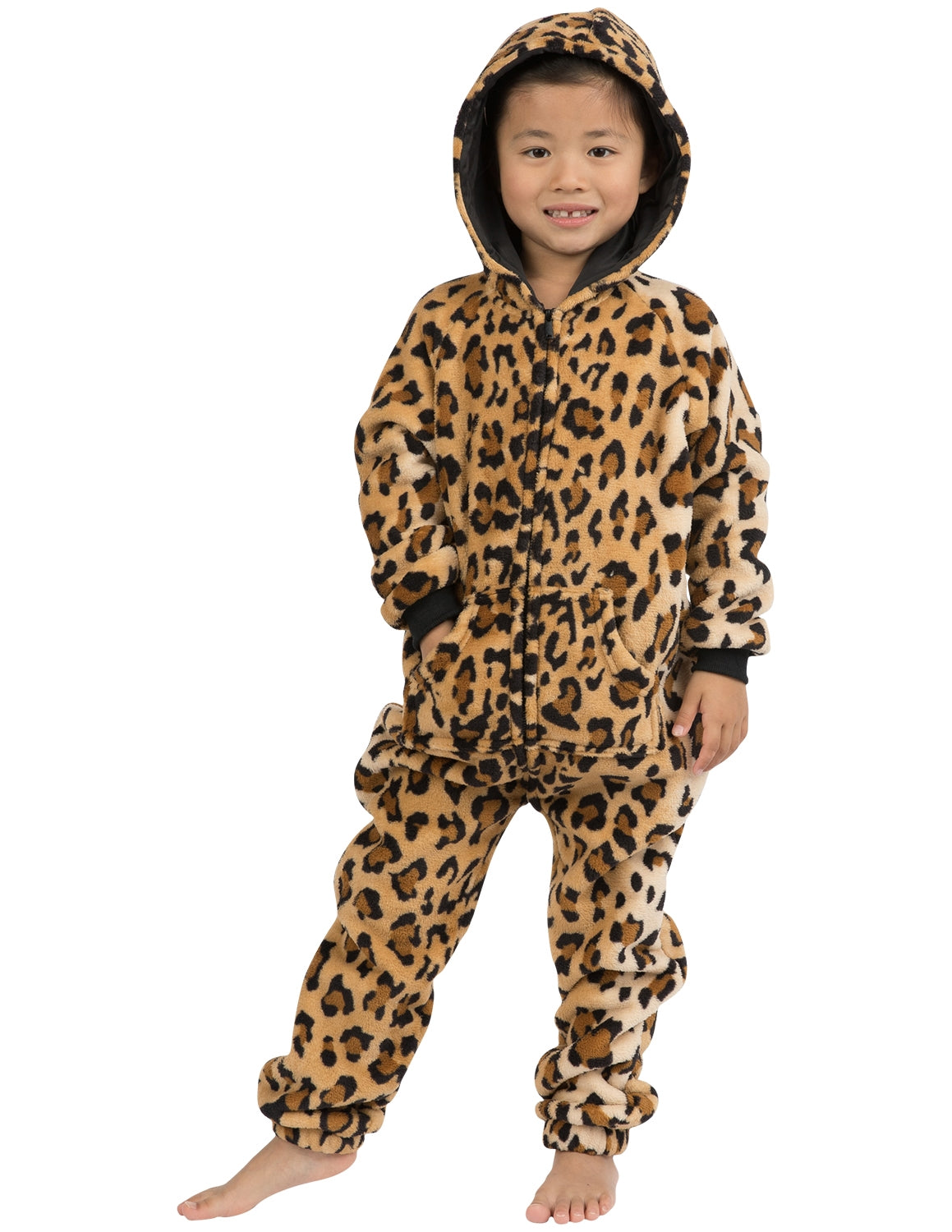 Cheetah Spots Toddler Hoodie Footless Chenille