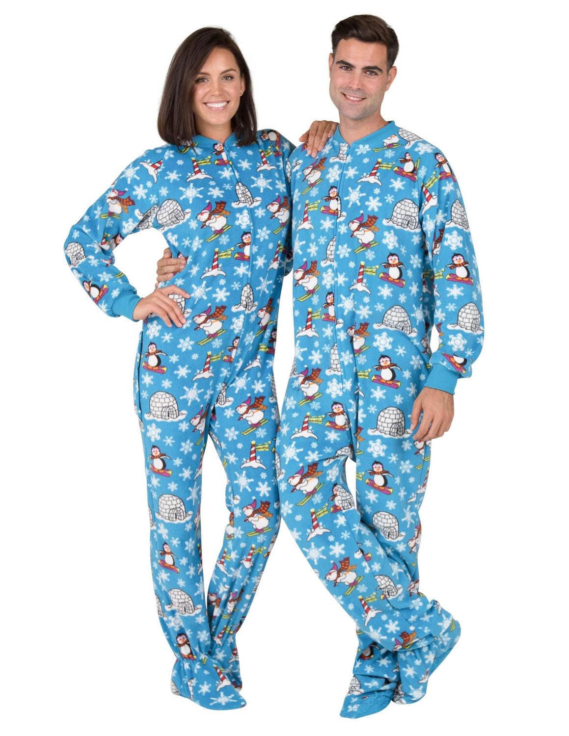 Winter Wonderland Adult Drop Seat Fleece Onesie