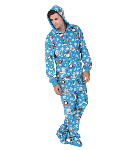 Winter Wonderland Adult Hoodie Drop Seat Fleece Onesie
