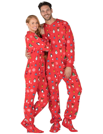 Holly Jolly Christmas Adult Fleece Onesie