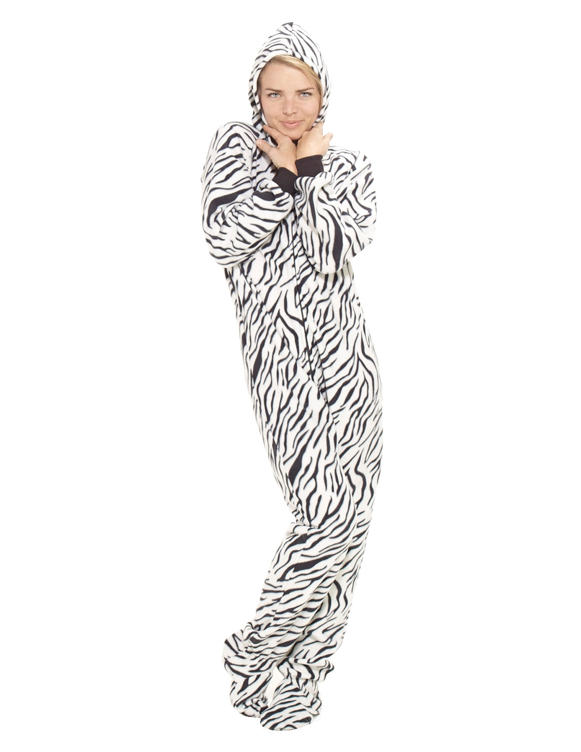 Zebra Stripes Adult Hoodie Fleece Onesie