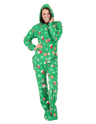 Tis The Season Adult Hoodie Drop Seat Fleece Onesie