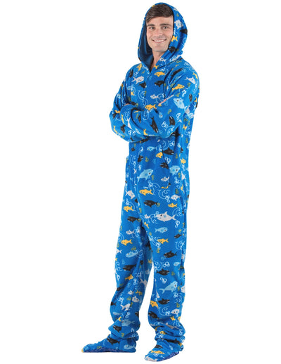 Shark Frenzy Adult Hoodie Fleece Onesie