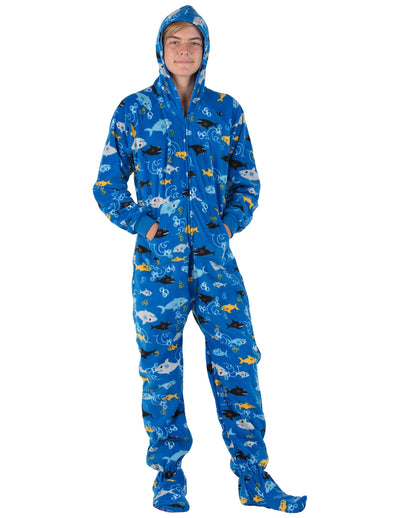 Shark Frenzy Kids Hoodie Fleece Onesie