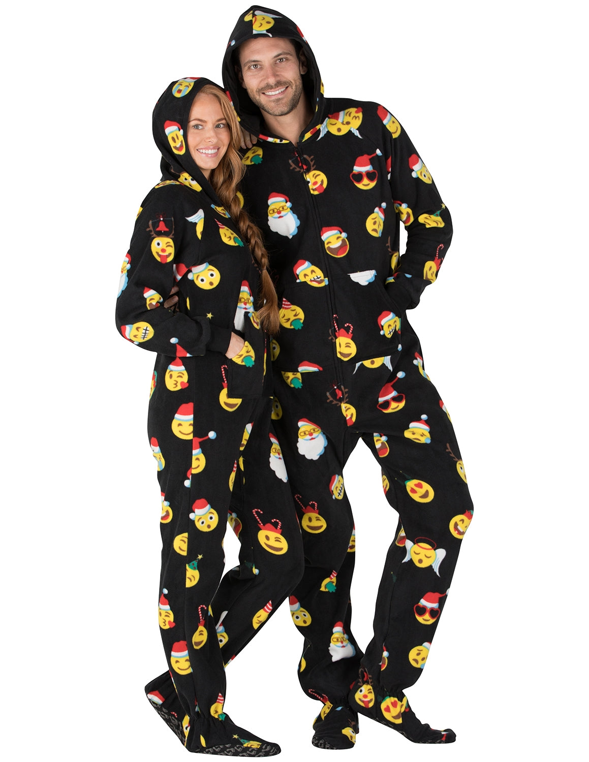 Merry Emoji Xmas Adult Hoodie Fleece Onesie