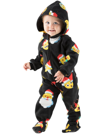 Merry Emoji Xmas Infant Hoodie Fleece Onesie