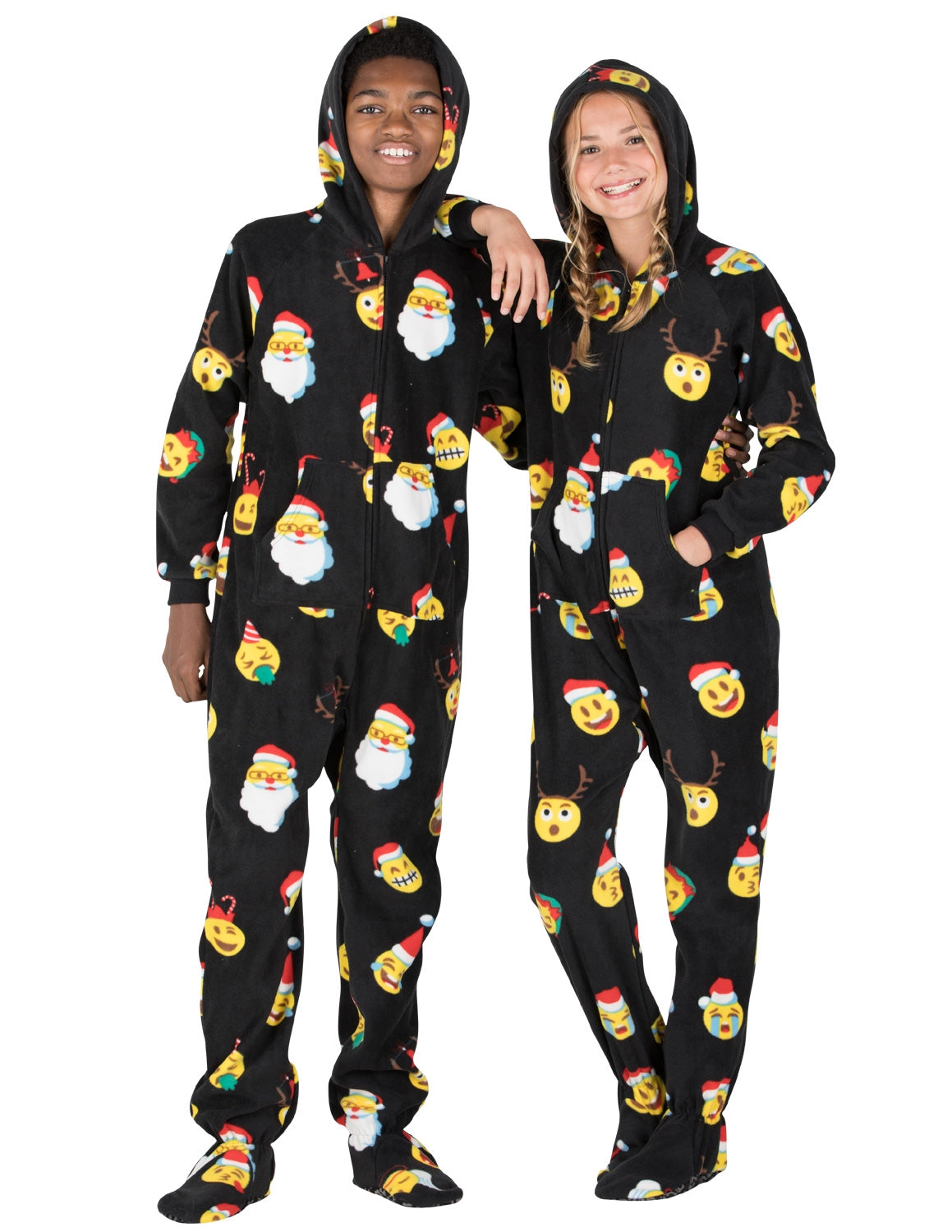 Christmas Footie Pajamas For Kids.Merry Emoji Xmas Hoodie One Piece Kids Hooded Footed