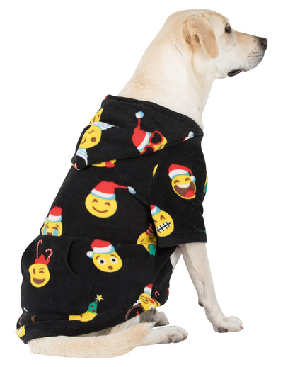 Merry Emoji Xmas Pet Pjs Fleece Hoodie