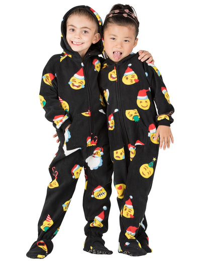 Merry Emoji Xmas Toddler Hoodie Fleece Onesie