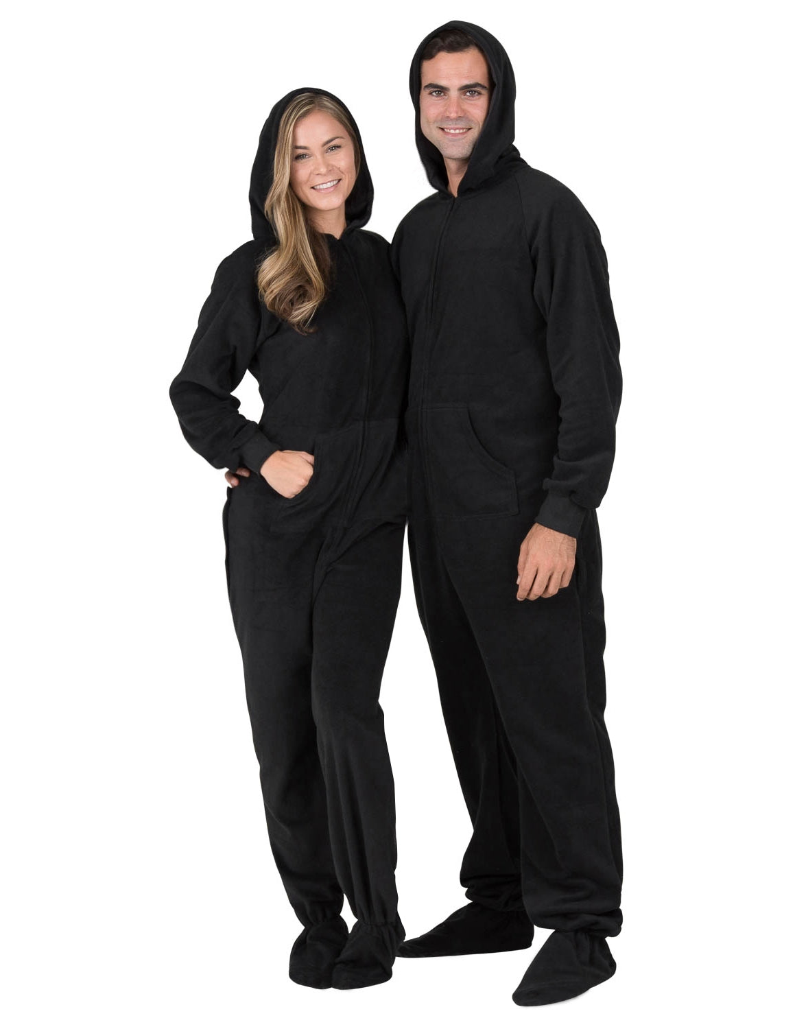 Midnite Black Adult Hoodie Drop Seat Fleece Onesie