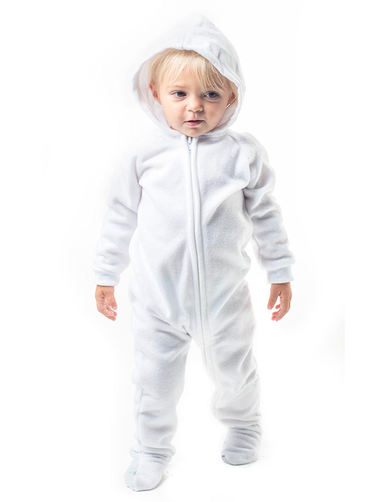 Arctic White Infant Hoodie Fleece Onesie