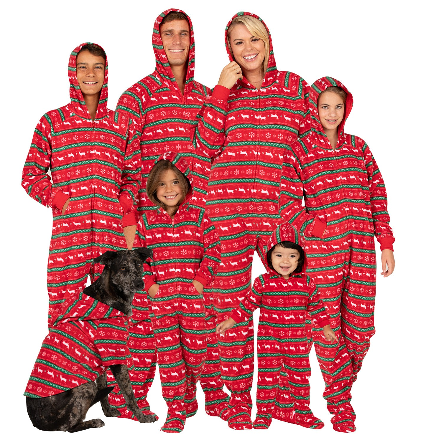 Family Matching Nordic Christmas Hoodie Fleece Onesie
