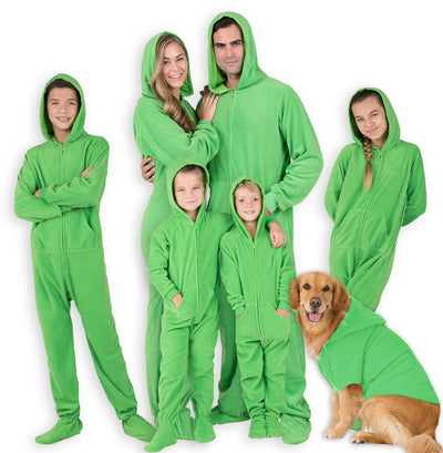Family Matching Emerald Green Hoodie Fleece Onesie