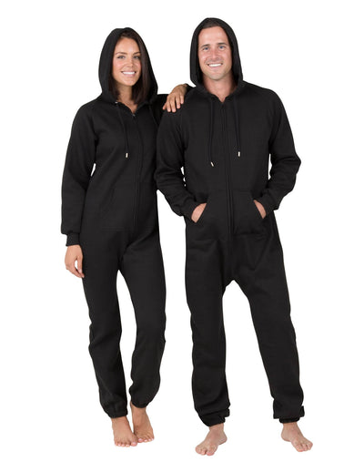 Pitch Black Adult Footless Hoodie Onesie