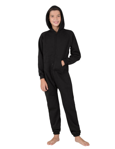 Pitch Black Kids Footless Hoodie Onesie