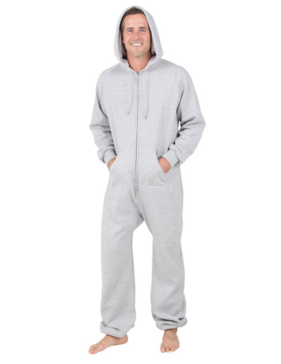 Laid-back Gray Adult Footless Hoodie Onesie