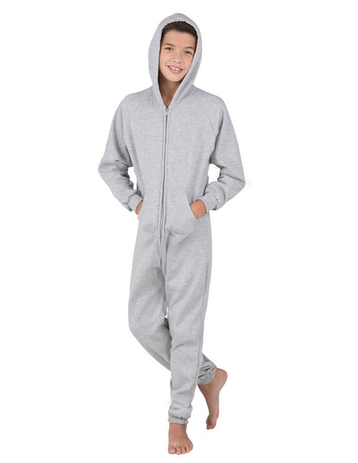 Laid-back Gray Kids Footless Hoodie Onesie