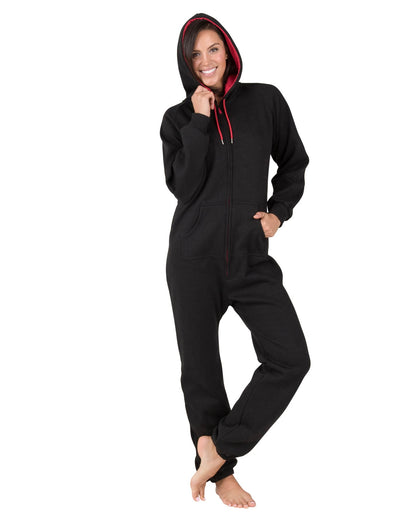 Black & Red Adult Footless Hoodie Onesie