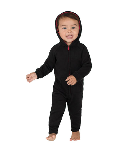 Black & Red Infant Footless Hoodie Onesie