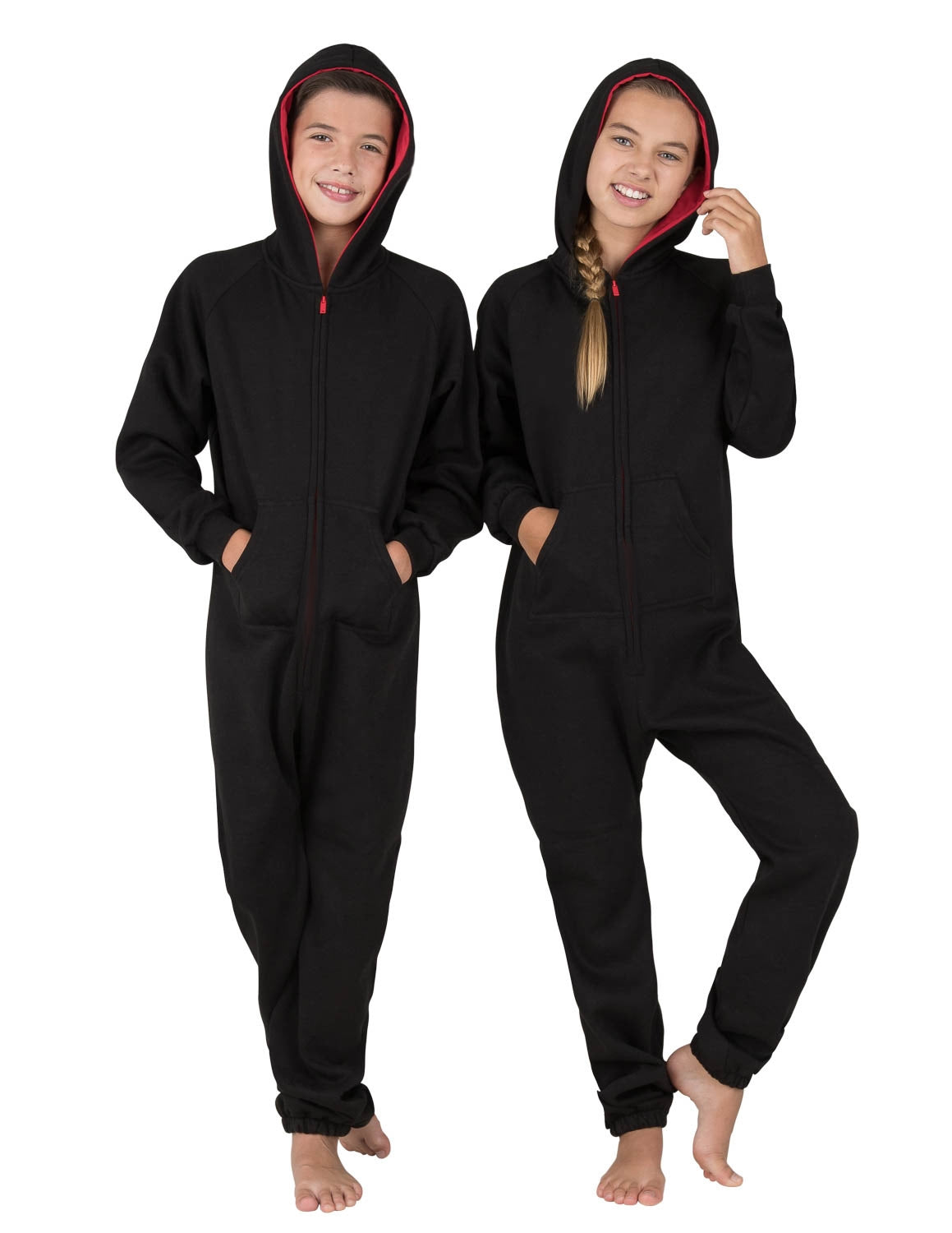 Black & Red Kids Footless Hoodie Onesie