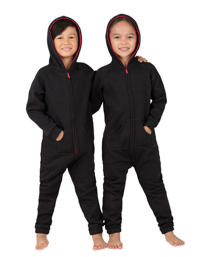 Black & Red Toddler Footless Hoodie Onesie