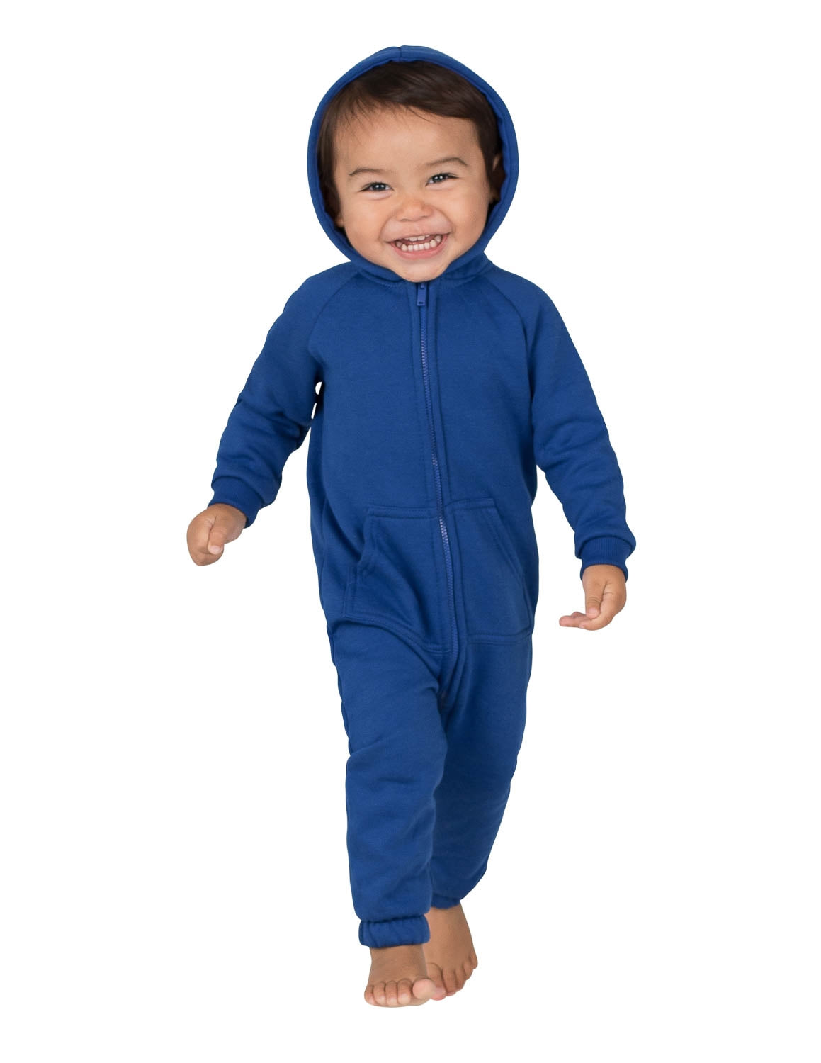 Blue Infant Footless Hoodie Onesie