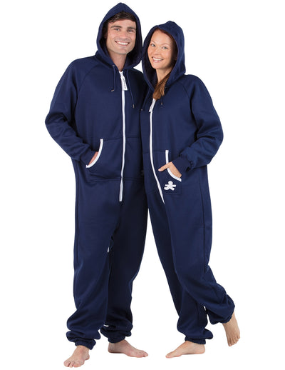 Navy Blue Adult Footless Hoodie Onesie