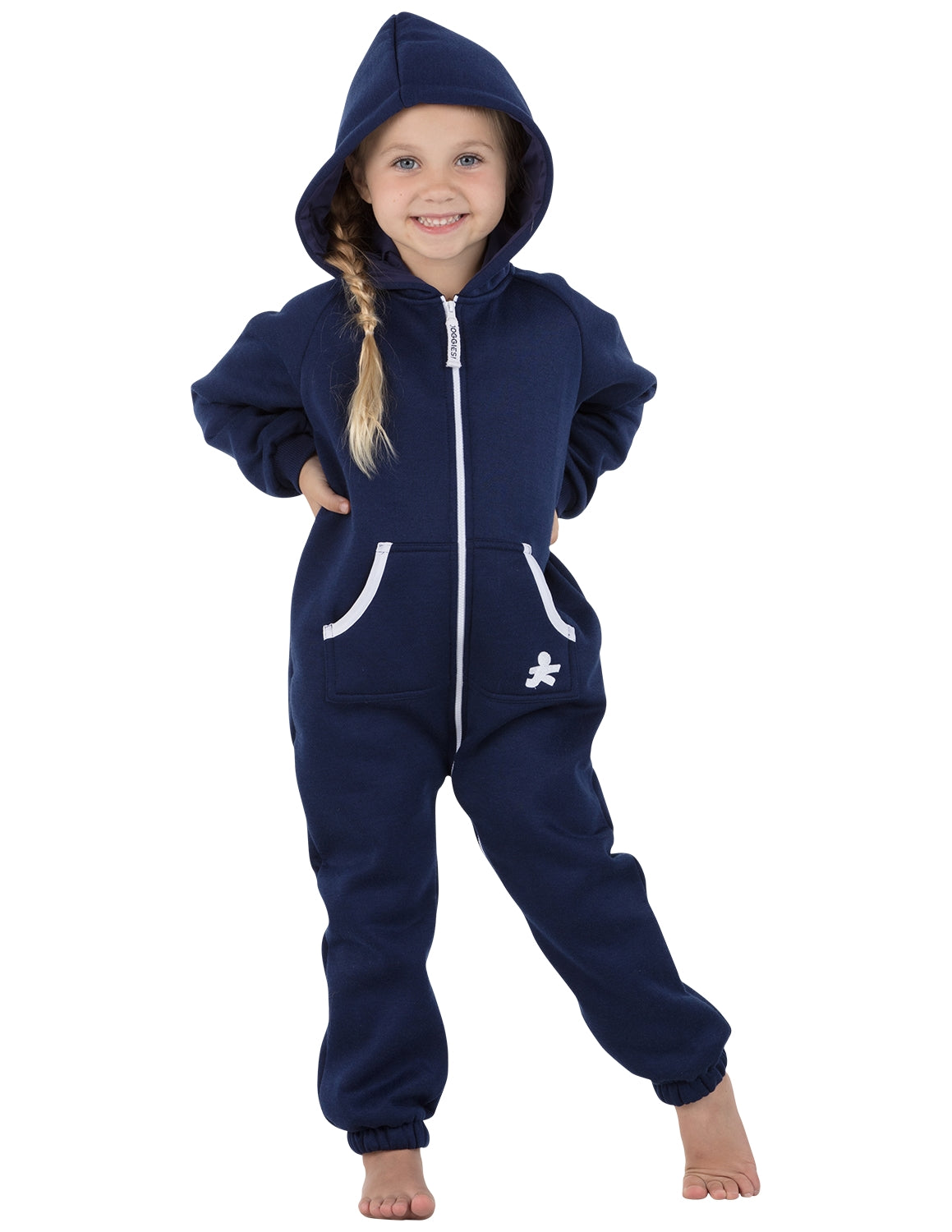 Navy Blue Toddler Footless Hoodie Onesie