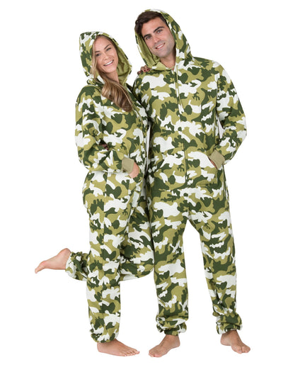 CamoForce Olive Adult Footless Hoodie Onesie