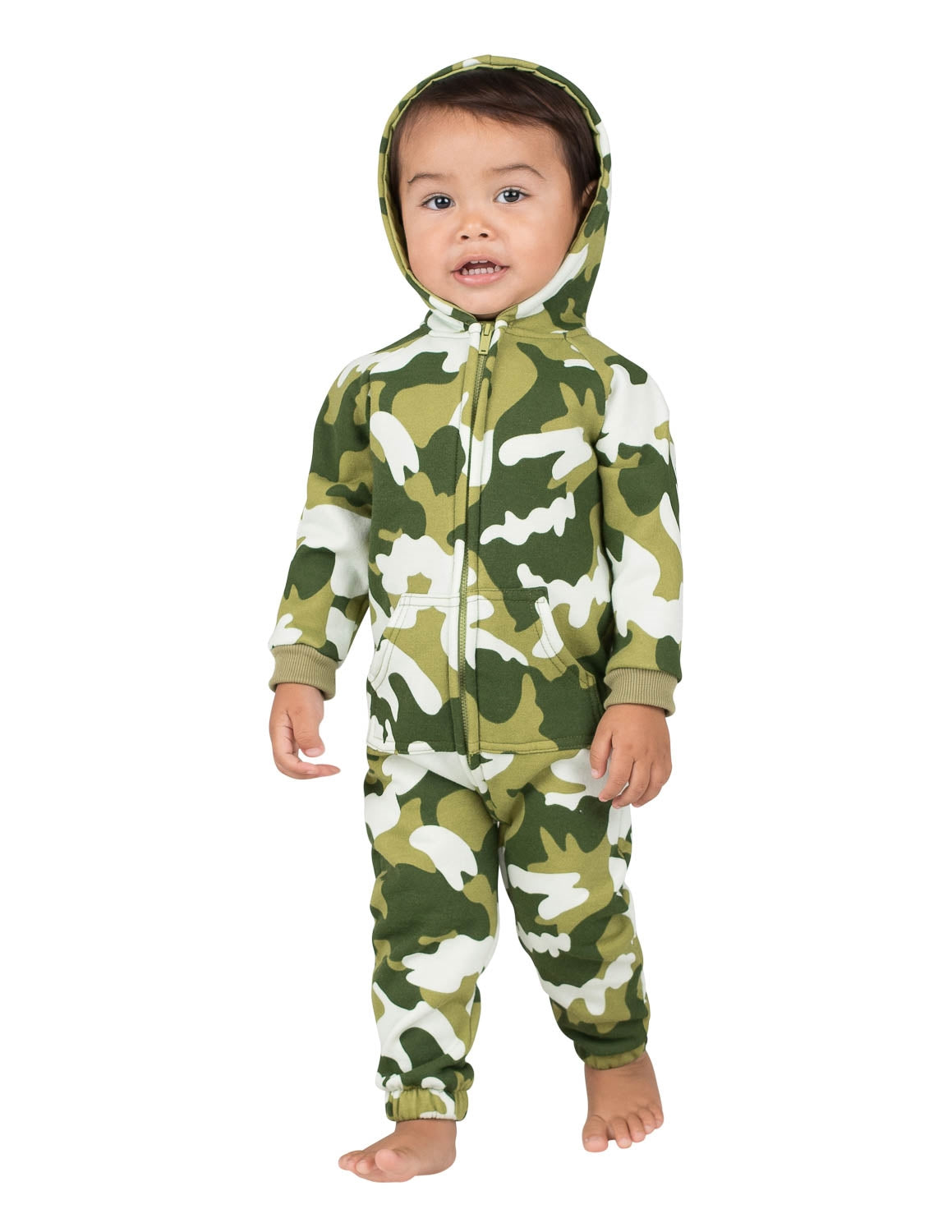 CamoForce Olive Infant Footless Hoodie Onesie