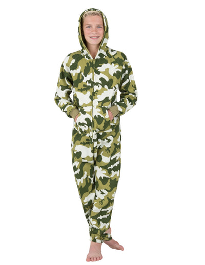CamoForce Olive Kids Footless Hoodie Onesie