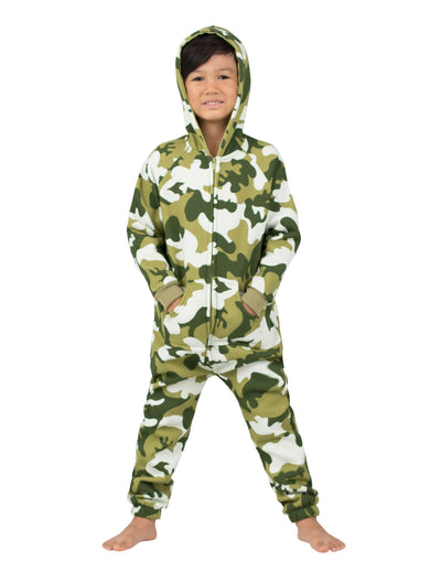 CamoForce Olive Toddler Footless Hoodie Onesie