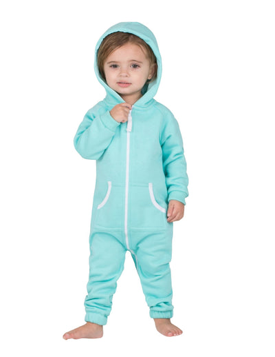 Aruba Blue Infant Footless Hoodie Onesie