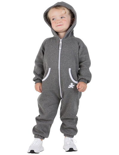 Charcoal Gray Infant Footless Hoodie Onesie