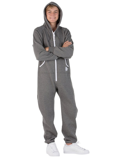 Charcoal Gray Kids Footless Hoodie Onesie