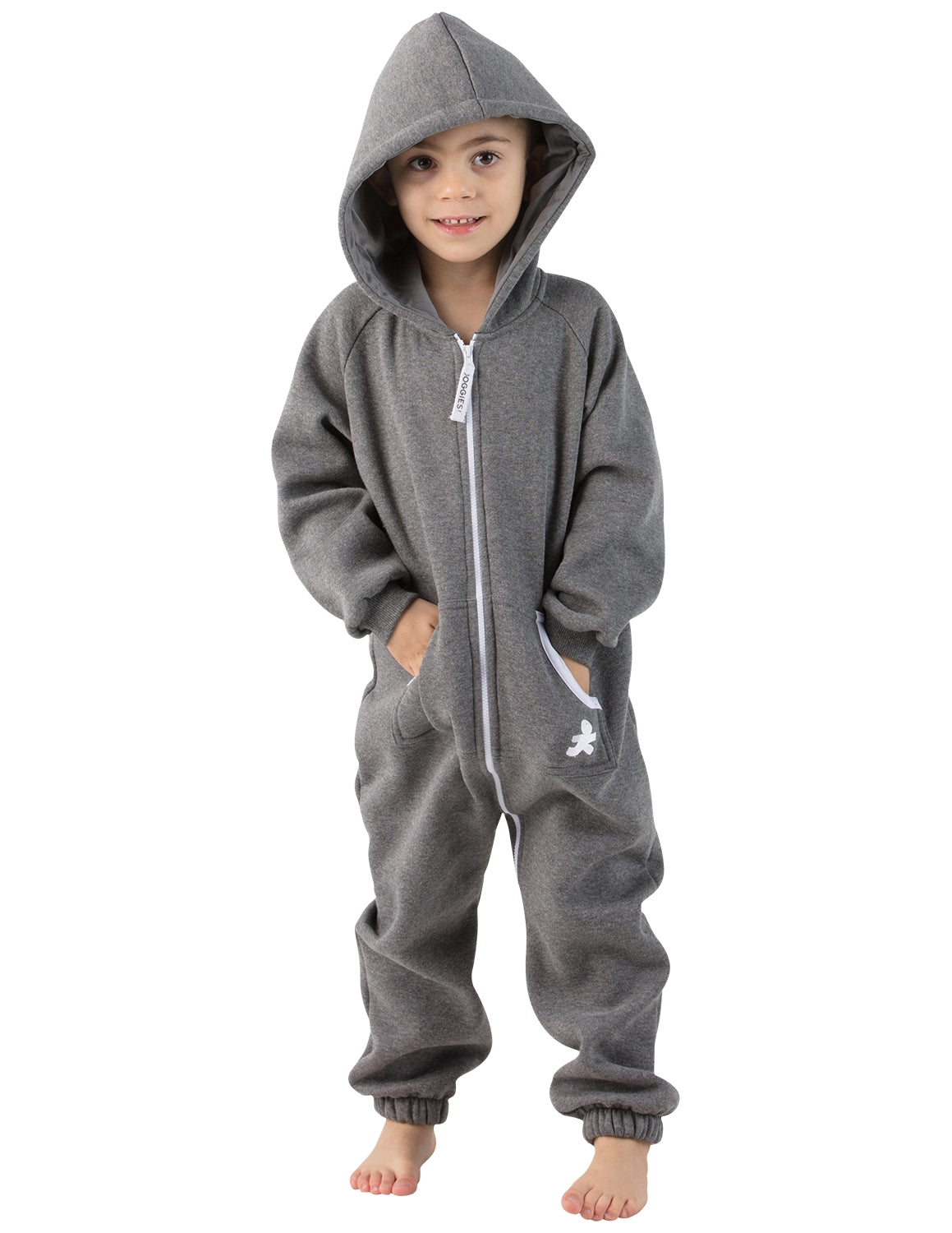 Charcoal Gray Toddler Footless Hoodie Onesie