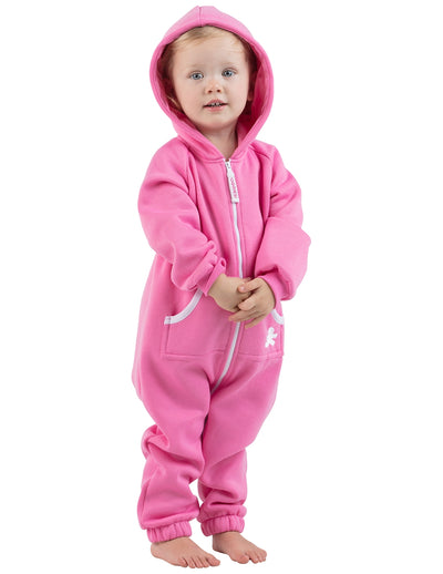 Pink Infant Footless Hoodie Onesie