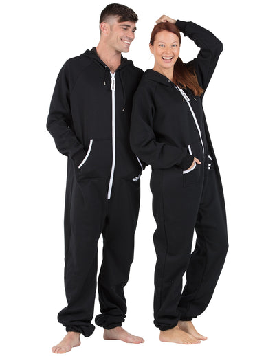 Black and White Adult Footless Hoodie Onesie