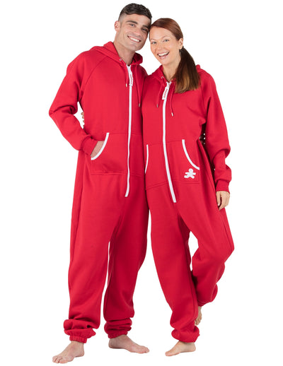 Red & White Adult Footless Hoodie Onesie