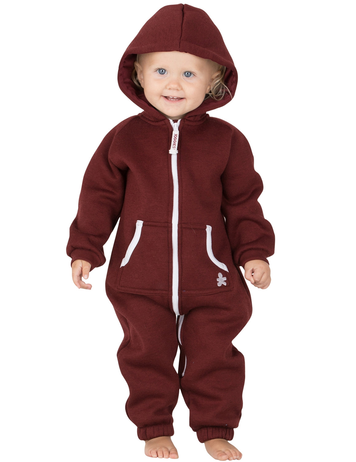 Burgundy Infant Footless Hoodie Onesie