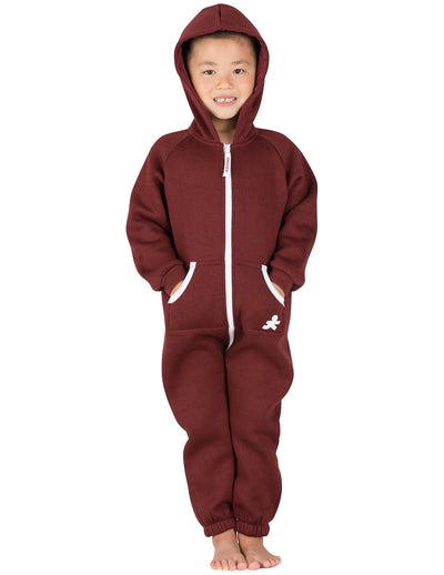 Burgundy Toddler Footless Hoodie Onesie