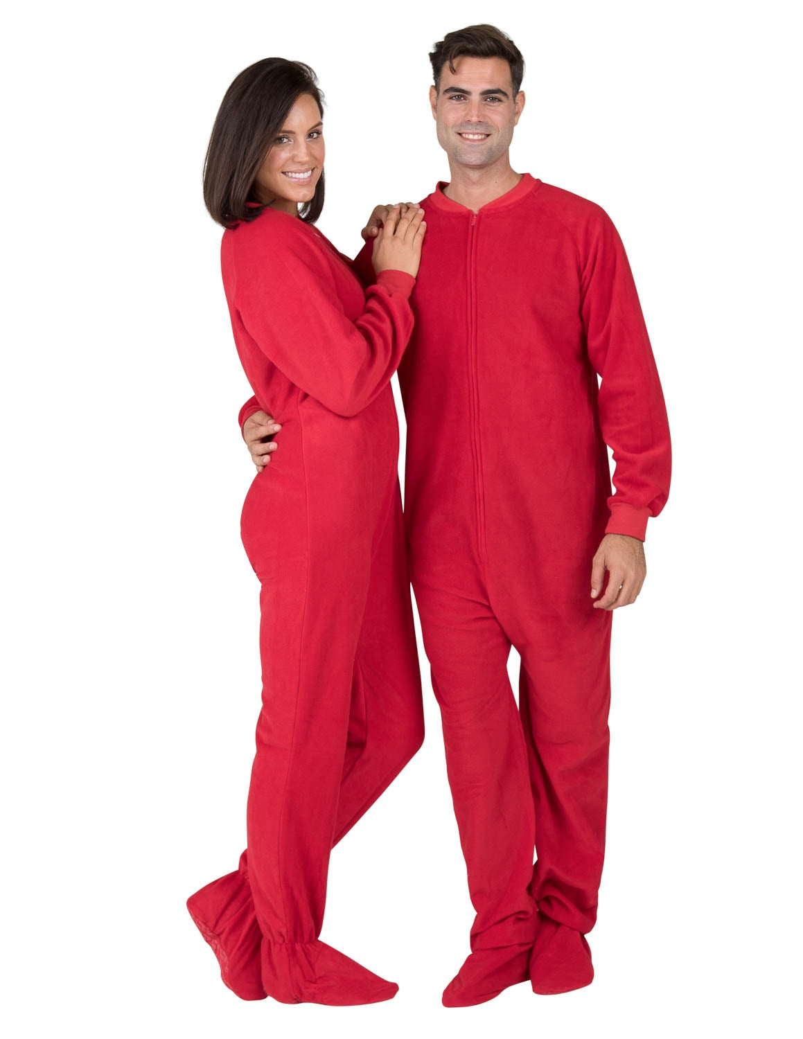 Bright Red Adult Fleece Onesie