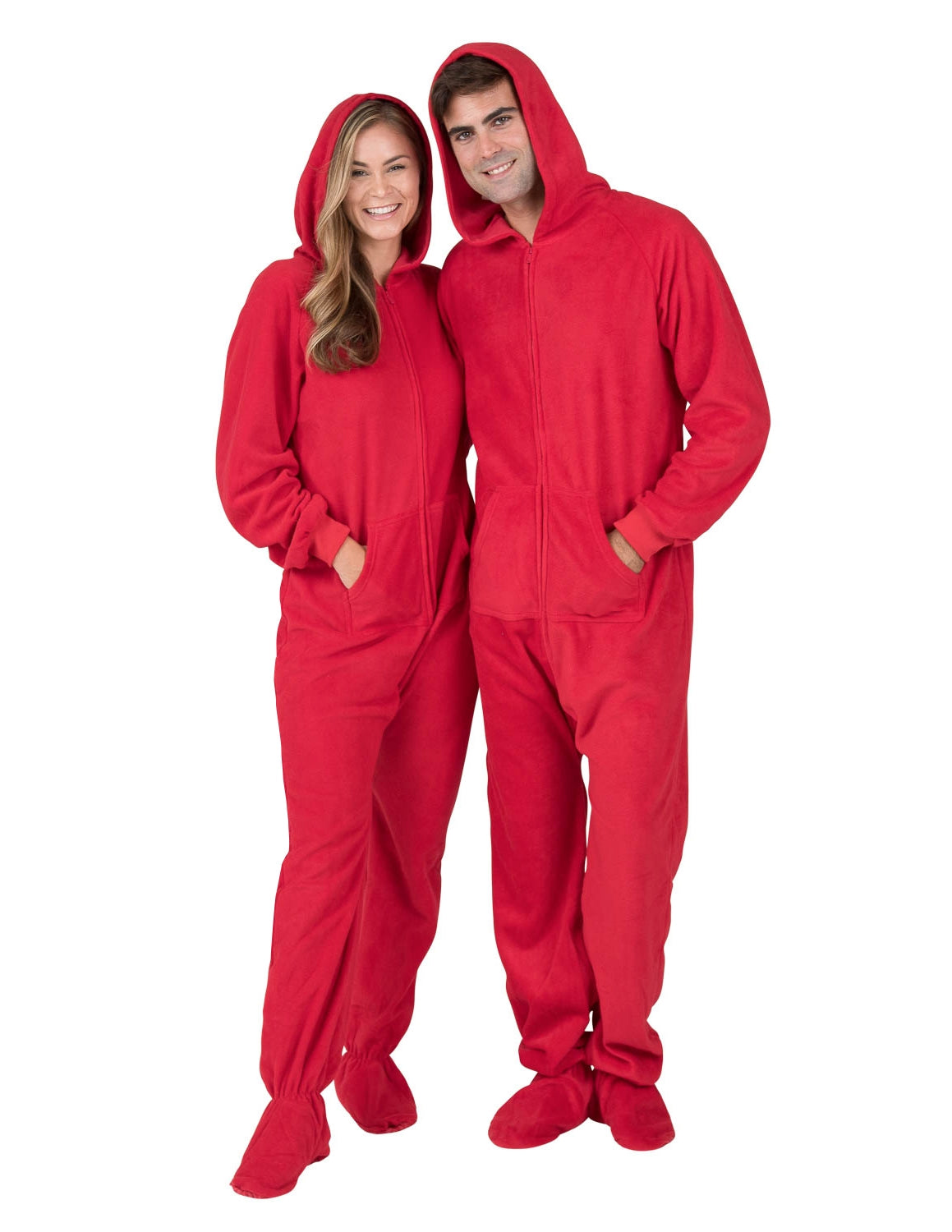 Bright Red Adult Hoodie Fleece Onesie